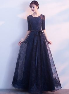 Flash Sale Lace Solid Color Sashes O-Neck Half Sleeves Prom Dresses Prom Dresses With Sleeves, Lace Evening Dresses, Simple Dresses, Homecoming Dresses, Formal Dresses, Designs For Dresses, Dresses For Sale, Quince Dresses, Daily Dress