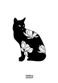 Motif 985 disponible Pour réserver : tattooanshort@gmail.com #anshort #tatouage #tattoo #tattooanshort #cattattoo #flowertattoo #blackwork Cat Tattoo, Tattoo Drawings, Body Art Tattoos, Tatoos, Cat Drawing, Painting & Drawing, Illustrations, Illustration Art, Blackwork