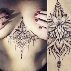 Girl Shoulder Tattoos, Girl Back Tattoos, Mom Tattoos, Sexy Tattoos, Body Art Tattoos, Tattos, Sternum Tattoo Lotus, Tattoo On, Dot Work Tattoo