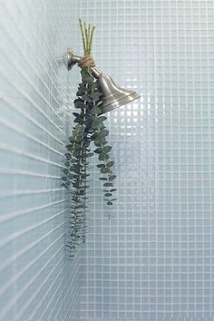 Tie eucalyptus to your shower head with twine. Steam will rise up towards the eucalyptus, filling the bathroom with a refreshing scent.