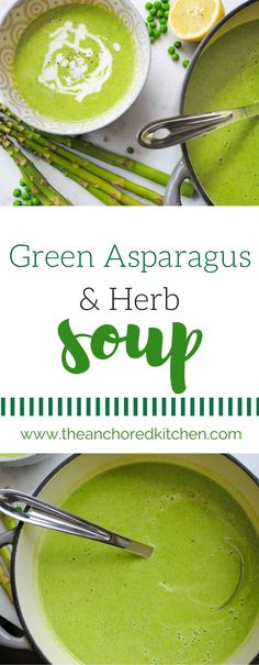 This Green Asparagus & Herb Soup combines asparagus, fresh herbs, onions, and peas blend together with creme fraiche or heavy cream for a delightfully refreshing soup that is great served warm or chilled. Healthy Food List, Healthy Recipes, Healthy Soups, Healthy Eating, Chili Recipes, Soup Recipes, Herb Soup, Vegetable Soup Healthy, Food Test
