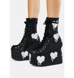 Club Exx Black Glitter Traitor Boots With Holographic Hearts | Dolls Kill Neon Outfits, Grunge Outfits, Rave Outfits, Girl Outfits, Pretty Shoes, Cute Shoes, Me Too Shoes, Black Platform Boots, Platform Sneakers