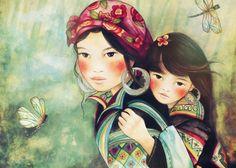 madre e figlia da arte del popolo Hmong Vietnam stampa 8 x 10 pollici