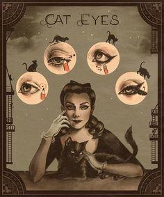 Vintage cat eyes makeup