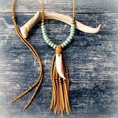 Tribal Statement Necklace Bone Tusk Necklace Suede by xxxAZUxxx