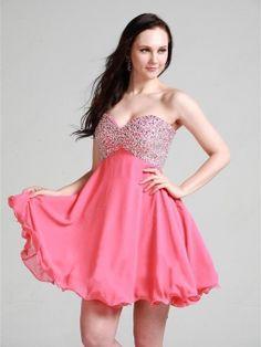 Sweet 16 Dresses,A-line Sweetheart Chiffon Short/Mini Pink Beading Homecoming Dress