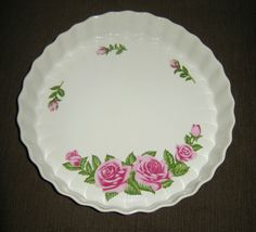 """9.5"""" Deep Dish Fluted Ceramic Pie Pan, Rose Pattern, Oven & Microwave Safe"""