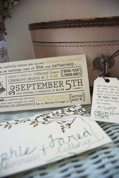 Vintage rustic wedding invitation.