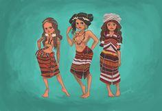 different looks of Igorot women from left to right (kalinga, bontoc & ibaloi) Filipino Art, Filipino Culture, Filipino Tribal, Filipino Tattoos, Philippine Mythology, Philippine Art, Philippines Tattoo, Tribal Costume, Tribal Outfit