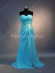 Delicate Blue Chiffon Sweetheart Neckline A-line Full Length Prom Dresses With Ruched Bodice  $169.00