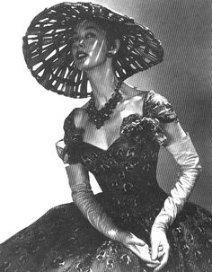 Christian Dior's cocktail dress and hat, 1955. 50s black lacy dress