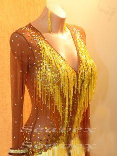 Competition Ramba Cha Cha Latin Dance Dress US 10 UK 12 Skin Gold White Fringing | eBay
