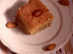 Algerian Qalb El Louz / Heart of Almonds. Orange Blossom Perfumed, Sugar Syrup drenched Semolina and Almond Dessert.