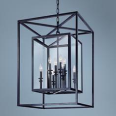 "Morgan 8-Light 21"" Wide x 31"" High, Deep Bronze Pendant Light  $986 by Troy Lighting at www.lampsplus.com"