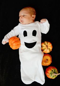 Friendly Ghost Baby Gown - Halloween Ghost Costume - Size Newborn Girl Boy Clothing. $16.00, via Etsy.