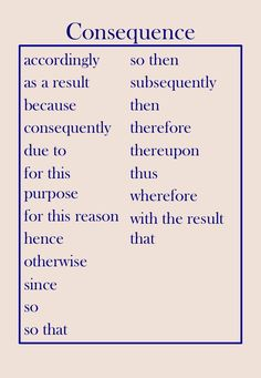 Transition words: showing consequence