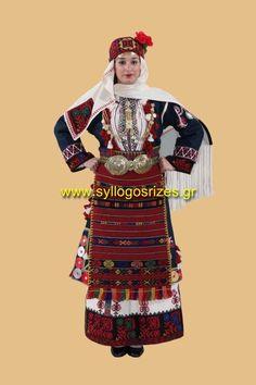 Greek Traditional Costumes - www.syllogosrizes.gr - παραδοσιακή φορεσιά Μακεδονίας - Πυλαία η Καπουτζήδα - Traditional Art, Traditional Outfits, Visit Greece, Greek Apparel, Folk Dance, Greek Clothing, Macedonia, Costumes, Projects
