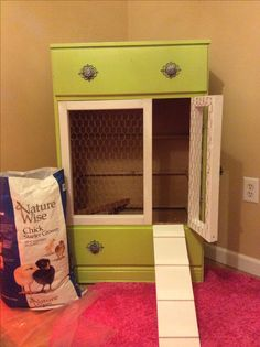 Dresser turned into chicken coop
