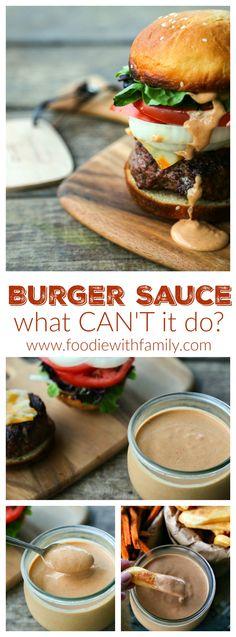 Burger Sauce - Foodie With Family Burger Sauces Recipe, Burger Toppings, Sauce Recipes, Smash Burger Sauce Recipe, Hamburger Recipes, Beef Recipes, Cooking Recipes, Hamburger Sauce, Hamburger Helper