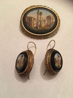 Antique Victorian 14k Gold Micro Mosaic Italy Grand Tour Brooch And Earrings set