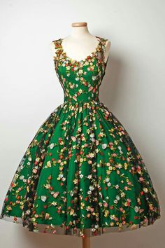 Lovely green dress with floral overlay