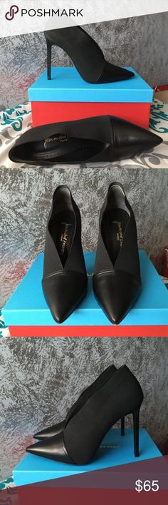 Jean Michel Cazabat Elisa Pump Size 41 (9.5-10 US sizing), New with Box with some nicks on bottom of show from trying on *see picture*. Black leather with black elastic, pointed toe. 4.5 inch stiletto heel. jean michel cazabat Shoes Heels