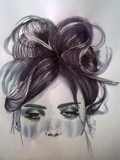 peinture+dessin+aquarelle+et+bic+jeune+femme+de+EmyPaint'+sur+DaWanda.com