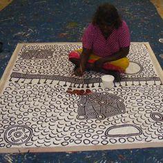 "ABORIGINAL ART PAINTING by YINARUPA GIBSON NANGALA ""NGAMINYA"" 170 x 150 cm"