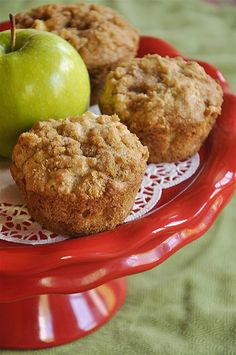 Chris has a thing for apple muffins right now, and this recipe looks AMAZING!