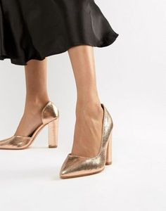 Discover a range of high heels with ASOS. Fromt black heels to bright silver, browse our range of classic peep toes, pumps or strappy sandals from ASOS. Gold Block Heel Shoes, Rose Gold Block Heels, Rose Gold Shoes, Platform Block Heels, Rose Gold Strappy Heels, Black Heels, Prom Heels, Pumps Heels, Asos