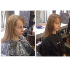 24/09/2014 Before and after (front). I used 77/0 and 6% on her roots to cover the grey, then took 7/0 through the ends to even out the colour. I then finished with a straight blow dry using a round brush.