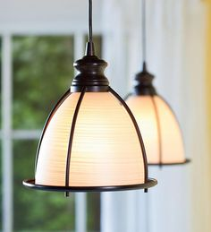 Screw-In Brushed Bronze and Glass Cage Pendant Light, $60