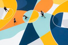 """With his """"Playground"""" installation, the artist GUE gave a second life to a basketball ground in the city of Alessandria, in Italy. Street Basketball, Basketball Court, Basketball Equipment, Louisville Basketball, Environmental Graphics, Design Graphique, Grafik Design, Art Direction, Baskets"""