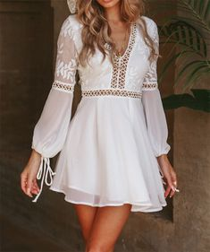 New Fashion Women Casual V-Neck Long Sleeve Lace Trim Short Mini Dress – Ozzy . - - New Fashion Women Casual V-Neck Long Sleeve Lace Trim Short Mini Dress – Ozzy Bella All Great Apparel Source by rositrautwein White Flowy Dress, White Mini Dress, Short Mini Dress, Short Boho Dress, White Chiffon, Dress Long, White Long Sleeve Dress, Prom Dress, Flowy Dress Casual