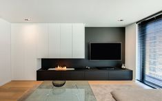 TV unit with built-in gas fireplace and wall cupboard in which a desk is hidden Wall Units With Fireplace, Home Fireplace, Modern Fireplace, Living Room With Fireplace, Fireplace Design, Living Room Wall Units, Living Room Tv Unit Designs, Living Room Modern, Home Living Room