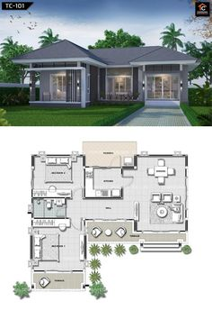 Two-bedroom bungalow with spacious interior - Pinoy House Plans Sims House Plans, New House Plans, Dream House Plans, Modern Bungalow House Plans, Bungalow Floor Plans, Simple Bungalow House Designs, Layouts Casa, House Layouts, House Design Pictures