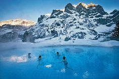 #Leukerbad, la più grande stazione termale  delle Alpi. Si trova in #Svizzera, nel Vallese http://www.vaquelpaese.com/iaggio-in-svizzera-1-in-vallese-neve-terme-vino-letteratura-leuk-i-suoi-vigneti/
