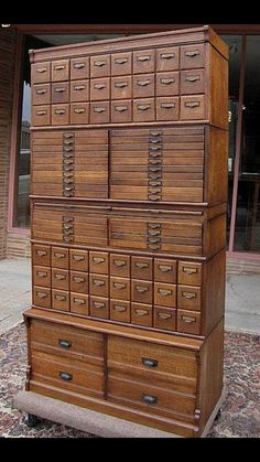 (Wabash Cabinet from Bradford Antiques) Love all the different sized drawers. Would be great for craft storage Unique Furniture, Vintage Furniture, Furniture Design, Rustic Furniture, Furniture Online, Furniture Stores, Industrial Furniture, Powell Furniture, Cherry Furniture