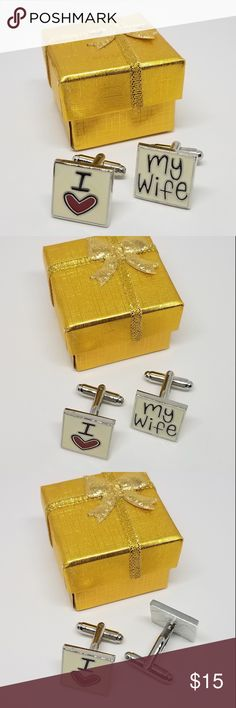 """😍 I Love My Wife Cuff Links These pair of """"I Love My Wife"""" Cuff links will add that finishing touch to any style and make a great complimentary accessory to any professional suit.  •High quality material: rhodium plated with hand polish finish.  •Cufflinks come with a beautiful cufflink box. •Easy to fasten, comfortable to wear and very long-lasting.  •Strong bullet back closures, bowed front, nickel-plated.  Its a perfect accessories to your french cuff shirts !!!! None Accessories Cuff…"""