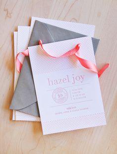 pretty letterpress baby announcements via angela hardison.
