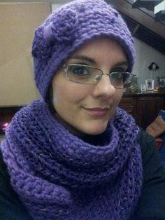 Sciarpa e cappellino viola - uncinetto - crochet