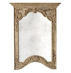 Saxony French Provencal Antique Carved Pedestal Arched Mirror