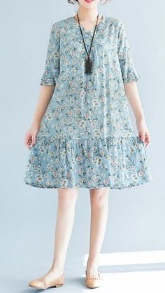 Women loose fit plus over size retro flower dress summer casual trendy fashion #unbranded