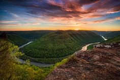 The Grand View at Sunrise ~ Main Overlook - Grandview ~  New River Gorge
