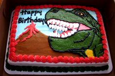 T Rex cake...all buttercream decorations