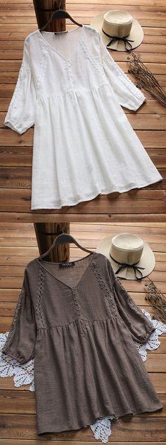 Lace Patchwork Pure Color V-neck 3/4 Sleeve Vintage Blouses. #lace #vintage #tops