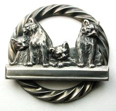 Old French Metal Button 4 Lounging Cats Design - 1 & 3/8 inch