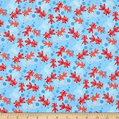 Hoodie's Collection Go Fish Goldfish and Bubbles Blue from @fabricdotcom  Designed for Timeless Treasures. Colors include red, coral orange, white and sky blue.
