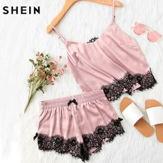 b2beb872fb SHEIN Pink Spaghetti Strap Lace Applique Satin Cami Top and Shorts Pajama  Set Fall Womens Sleepwear