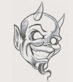 Black And Grey Devil Head Tattoo Design